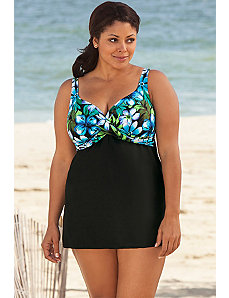 Blue Kokimo Draped Swimdress by Delta Burke