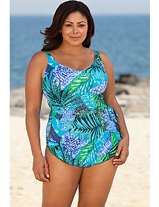 Maxine Blue Exotic Journey Sarong Front Swimsuit by Maxine of Hollywood