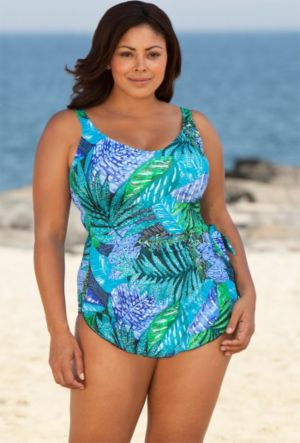 Maxine Blue Exotic Journey Sarong Front Swimsuit