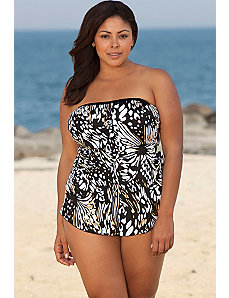 Maxine Up & Away Bandeau Sarong Front Swimsuit by Maxine of Hollywood