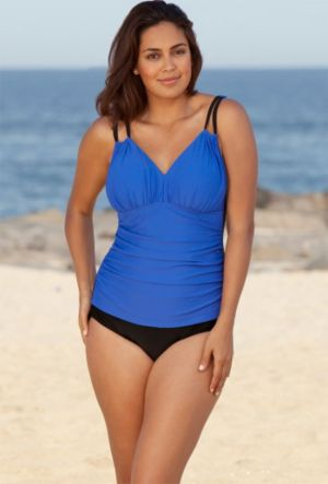 Royal Solids Shirred Swimsuit