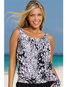 White Dew Drops Blouson Tankini Top by Beach Belle
