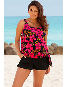 Red Jamaican Sunset Cargo Shortini by Beach Belle