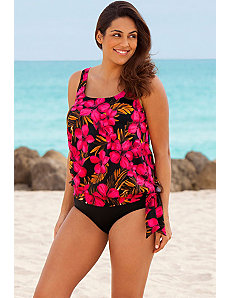 Red Jamaican Blouson Tankini by Beach Belle