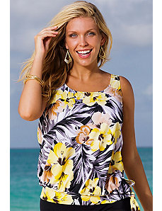 Everlasting Floral Blouson Tankini Top by Beach Belle