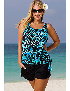 Abstract Rainforest Blouson Shortini by Beach Belle