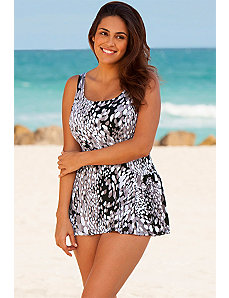White Dew Drop Princess Seam Swimdress by Beach Belle