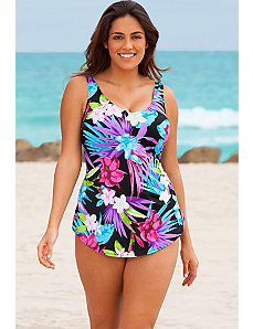 Aqua Floral Sarong Front Swimsuit by Beach Belle