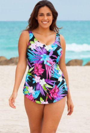 Aqua Floral Sarong Front Swimsuit