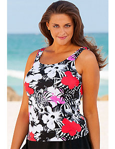 Newspaper Floral Tankini Top by Beach Belle