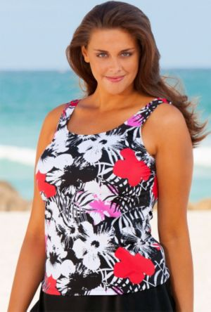 Newspaper Floral Tankini Top