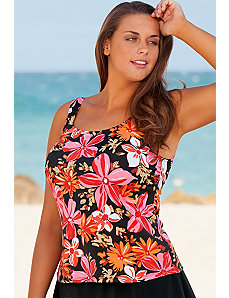 Orange Tropical Garden Tankini Top by Beach Belle