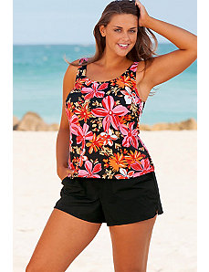 Orange Tropical Garden Cargo Shortini by Beach Belle