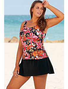 Orange Tropical Garden Skirtini by Beach Belle