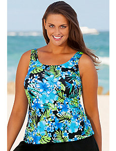 Blue Happy Tropical Tankini Top by Beach Belle