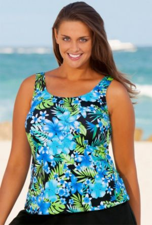 Blue Happy Tropical Tankini Top