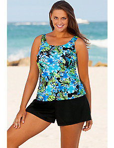 Blue Happy Tropical Shortini by Beach Belle