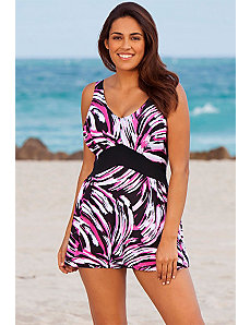Whirlpool V-Neck Swimdress by Beach Belle