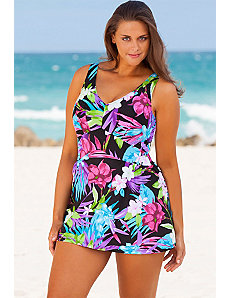 Aqua Floral Plus Size V-Neck Swimdress by Beach Belle