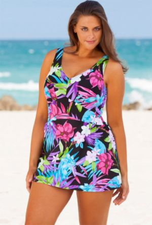 Aqua Floral V-Neck Swimdress