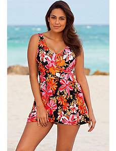 Orange Tropical Garden Swimdress by Beach Belle