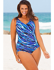 Blue Waterfall Surplice Swimsuit by Beach Belle