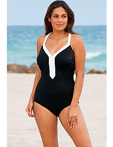 White Banded V-Neck Swimsuit by Beach Belle
