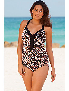 Tigress Banded V-Neck Swimsuit by Beach Belle
