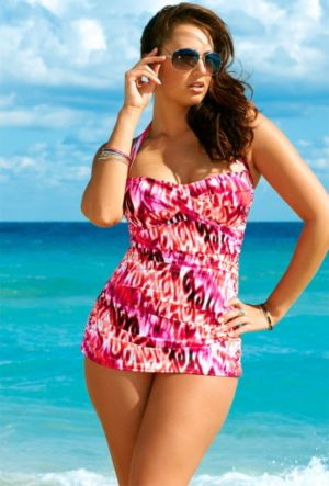 Pink Color Daze Plus Size Glam Swimsuit