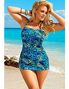 Swim Sexy Teal Animal Chic Bandeau/Halter Swimsuit by Swim Sexy