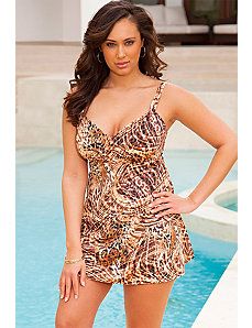 Swim Sexy Jungle Play Plus Size V-Neck Swimdress by Swim Sexy