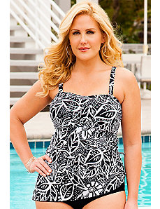 Leaf Batik Bandeau Tankini Top by Swim & Sun