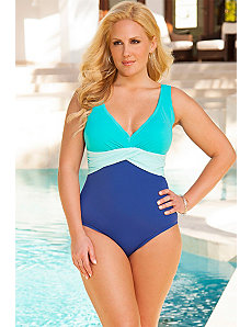 Cool Mint V Neck Sash Front Maillot by Swim Sexy