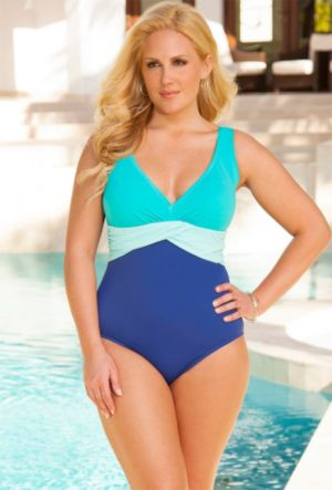 Cool Mint V Neck Sash Front Maillot