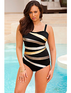 Metallic Spliced Maillot by Swim Sexy