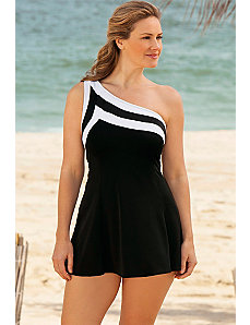 Black and White Colorblocked Swimdress by Longitude