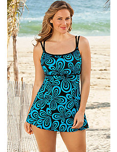 Longitude Turq Carnaby Plus Size Empire Swimdress by Longitude