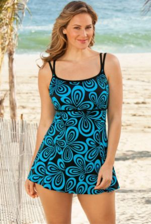Longitude Turq Carnaby Plus Size Empire Swimdress