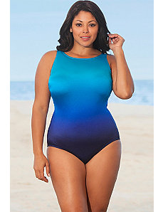 Blue Ombre High Neck Swimsuit by Longitude