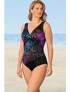 Multi Cheating Cheetah Surplice Swimsuit by Longitude