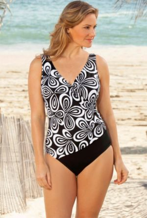 Longitude Black n' White Carnaby Surplice Swimsuit