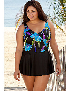 Longitude Blue Tropical Mock Surplice Swimdress by Longitude