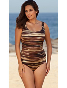 Longitude Brown South Seas X-Back Tank Swimsuit by Longitude