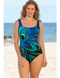 Blue Flower Burst Tank Swimsuit by Longitude