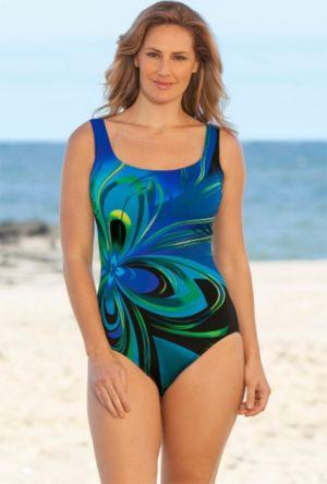 Blue Flower Burst Tank Swimsuit