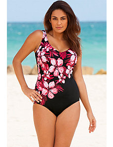 Pink Floral V-Neck Swimsuit by Beach Belle