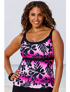 Pink Ombre Tropical Empire Tankini Top by Beach Belle