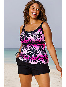 Pink Ombre Tropical Empire Shortini by Beach Belle