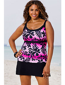 Pink Ombre Tropical Empire Skirtini by Beach Belle