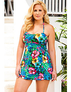 Oahu Bandeau/Halter Princess Seam Swimdress by Beach Belle